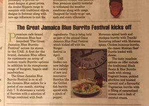The Great Jamaica Blue Burrito Festival kicks off in Dubai